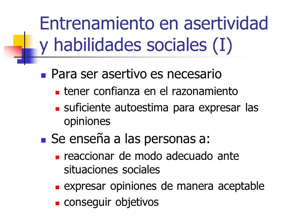 Entrenamiento en asertividad y habilidades sociales (I) Para ser asertivo es necesario tener confianza en el razonamiento suficiente autoestima para e