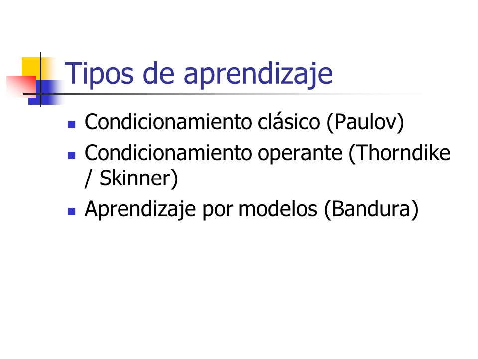 Tipos de aprendizaje Condicionamiento clásico (Paulov) Condicionamiento operante (Thorndike / Skinner) Aprendizaje por modelos (Bandura)