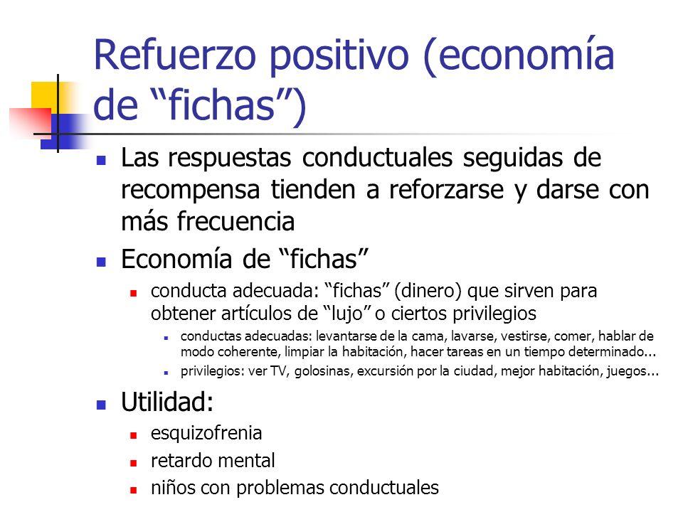 Refuerzo positivo (economía de fichas) Las respuestas conductuales seguidas de recompensa tienden a reforzarse y darse con más frecuencia Economía de