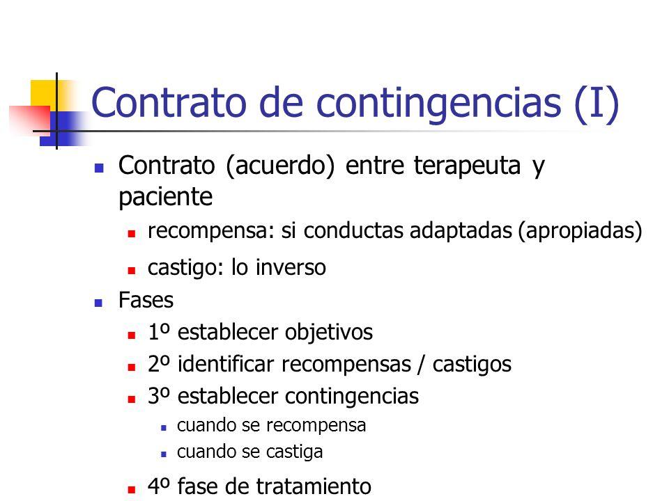 Contrato de contingencias (I) Contrato (acuerdo) entre terapeuta y paciente recompensa: si conductas adaptadas (apropiadas) castigo: lo inverso Fases