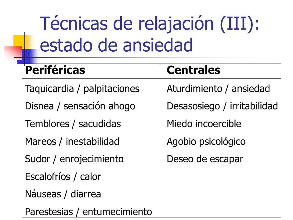 Técnicas de relajación (III): estado de ansiedad Periféricas Taquicardia / palpitaciones Disnea / sensación ahogo Temblores / sacudidas Mareos / inest