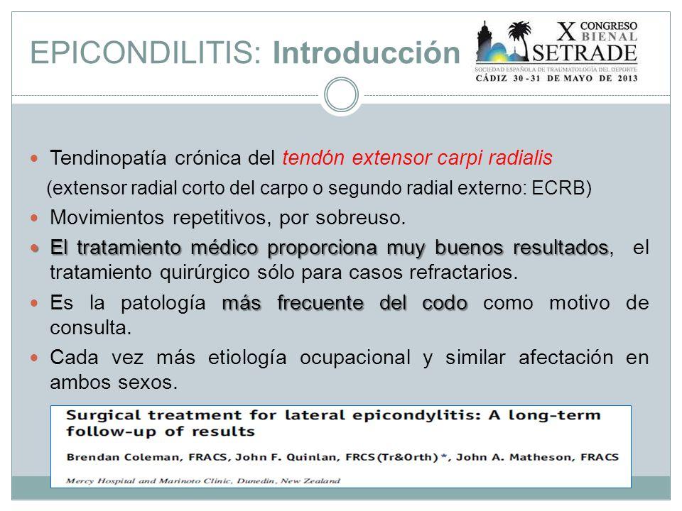 Material y métodos Se realiza el estudio sobre aquellos pacientes (22 en total) intervenidos por epicondilitis desde Junio del 2004 hasta Mayo del 2011 en el Hospital Infanta Elena de Huelva.