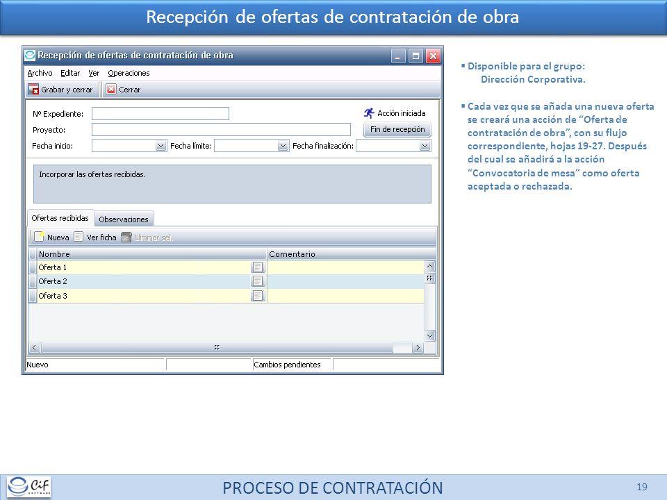 PROCESO DE CONTRATACIÓN 19 Recepción de ofertas de contratación de obra Disponible para el grupo: Dirección Corporativa. Cada vez que se añada una nue