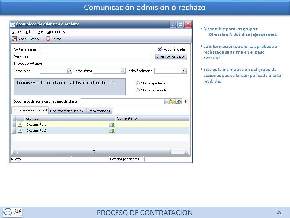 PROCESO DE CONTRATACIÓN 28 Comunicación admisión o rechazo Disponible para los grupos: Dirección A. Jurídica (ejecutante). La información de oferta ap