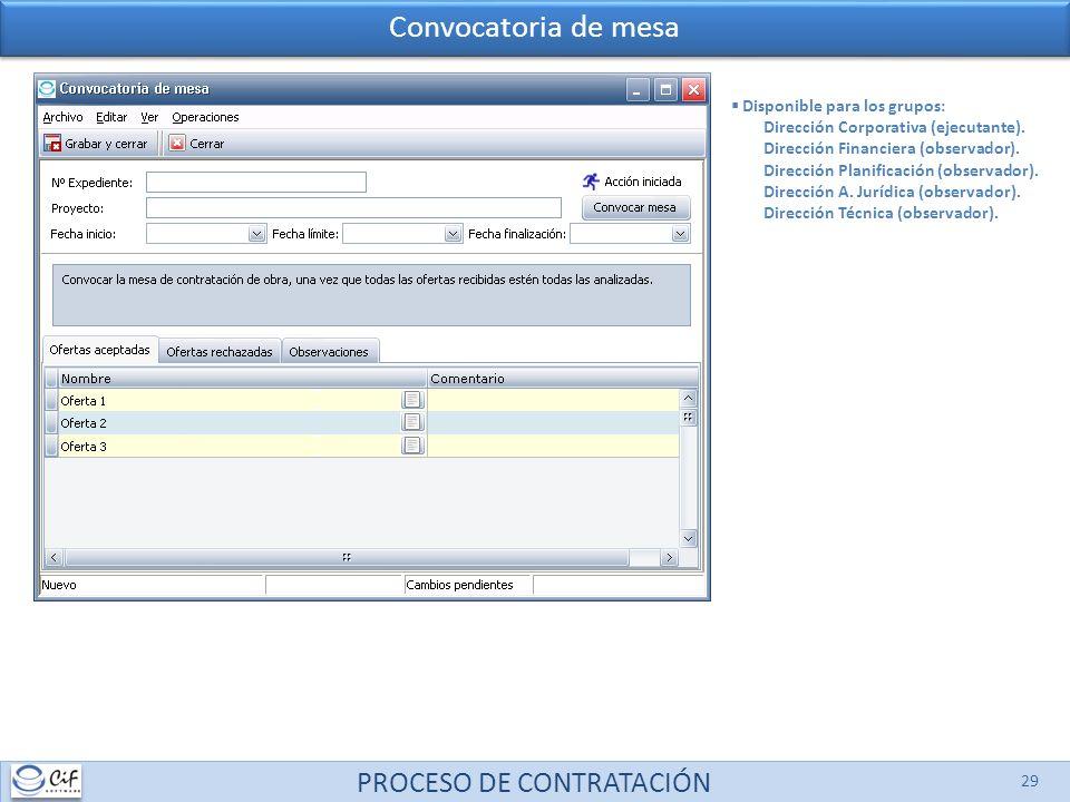 PROCESO DE CONTRATACIÓN 29 Disponible para los grupos: Dirección Corporativa (ejecutante). Dirección Financiera (observador). Dirección Planificación