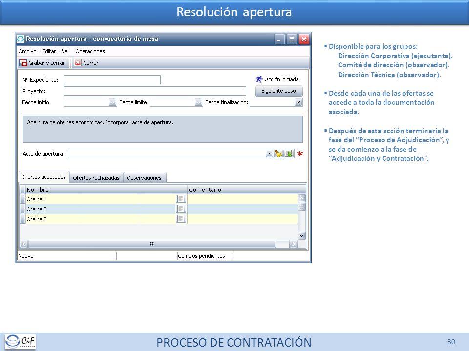 PROCESO DE CONTRATACIÓN 30 Disponible para los grupos: Dirección Corporativa (ejecutante).