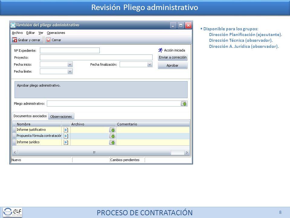 PROCESO DE CONTRATACIÓN 8 Revisión Pliego administrativo Disponible para los grupos: Dirección Planificación (ejecutante). Dirección Técnica (observad