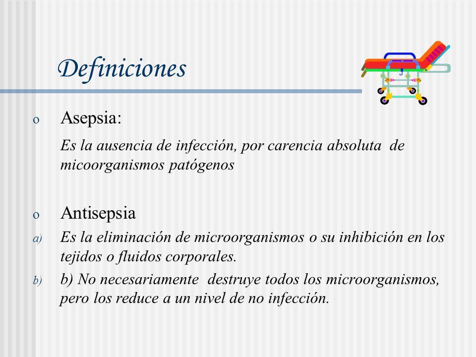 o Asepsia: Es la ausencia de infección, por carencia absoluta de micoorganismos patógenos o Antisepsia a) Es la eliminación de microorganismos o su in