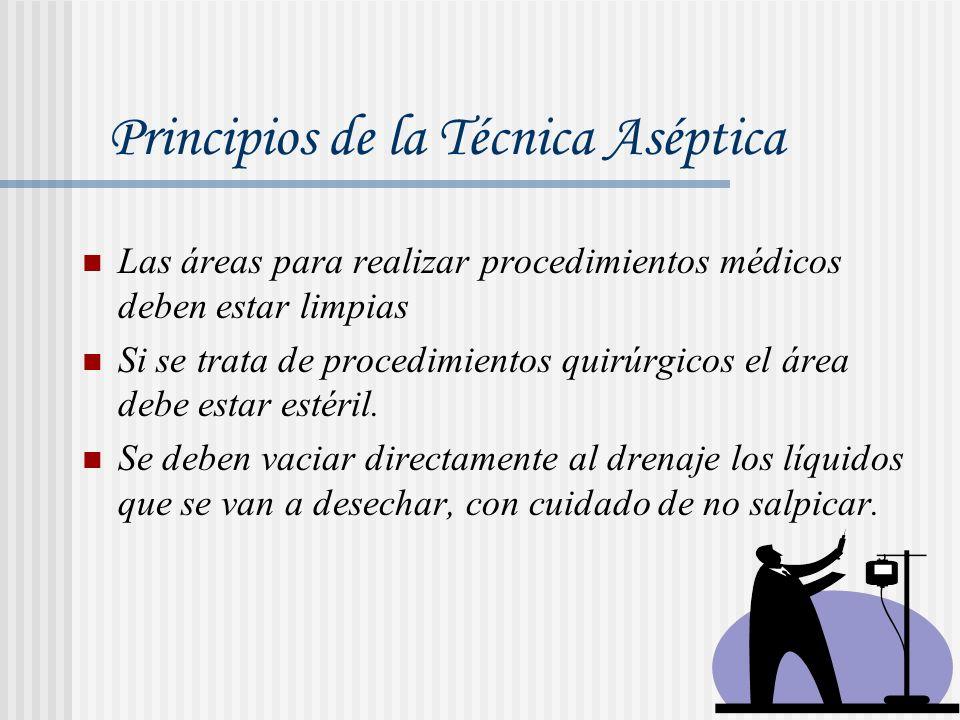 Las áreas para realizar procedimientos médicos deben estar limpias Si se trata de procedimientos quirúrgicos el área debe estar estéril. Se deben vaci