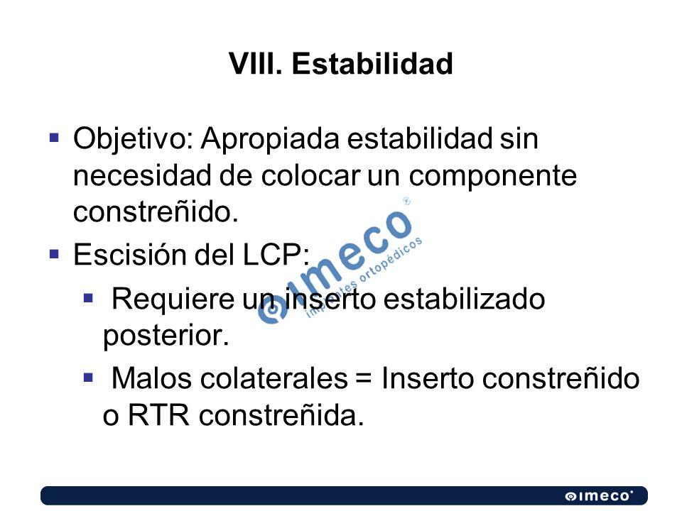 VIII. Estabilidad Objetivo: Apropiada estabilidad sin necesidad de colocar un componente constreñido. Escisión del LCP: Requiere un inserto estabiliza