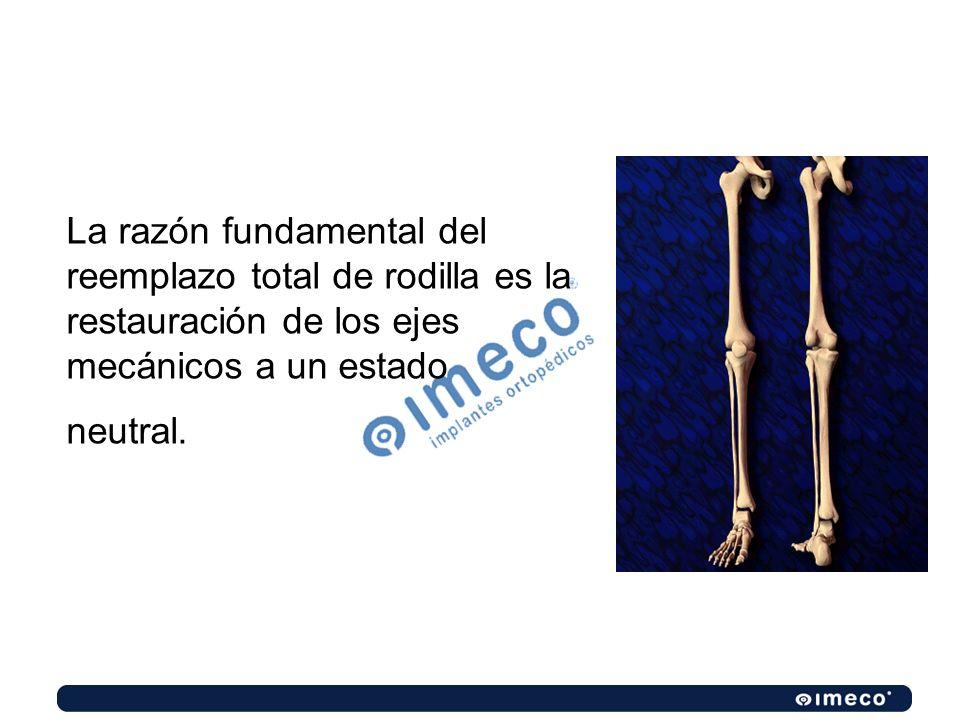 La razón fundamental del reemplazo total de rodilla es la restauración de los ejes mecánicos a un estado neutral.
