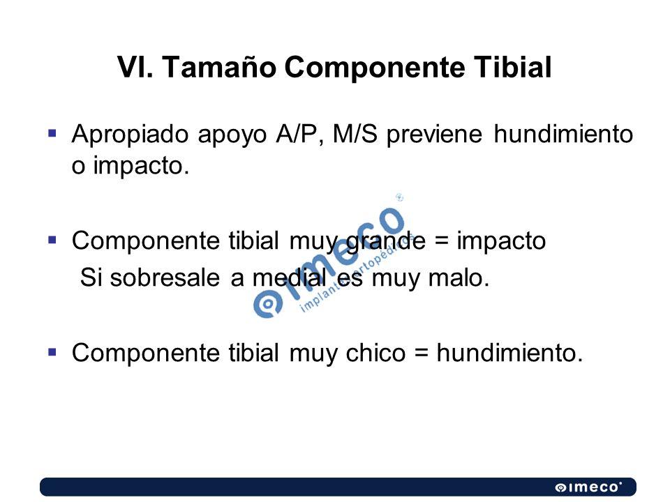 VI. Tamaño Componente Tibial Apropiado apoyo A/P, M/S previene hundimiento o impacto. Componente tibial muy grande = impacto Si sobresale a medial es