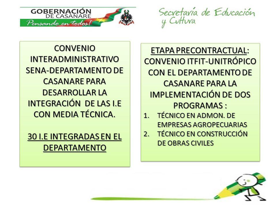 CONVENIO INTERADMINISTRATIVO SENA-DEPARTAMENTO DE CASANARE PARA DESARROLLAR LA INTEGRACIÓN DE LAS I.E CON MEDIA TÉCNICA.
