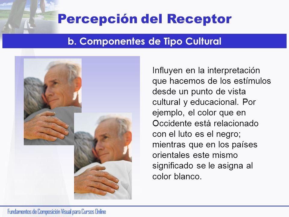 Percepción del Receptor Influyen en la interpretación que hacemos de los estímulos desde un punto de vista cultural y educacional. Por ejemplo, el col