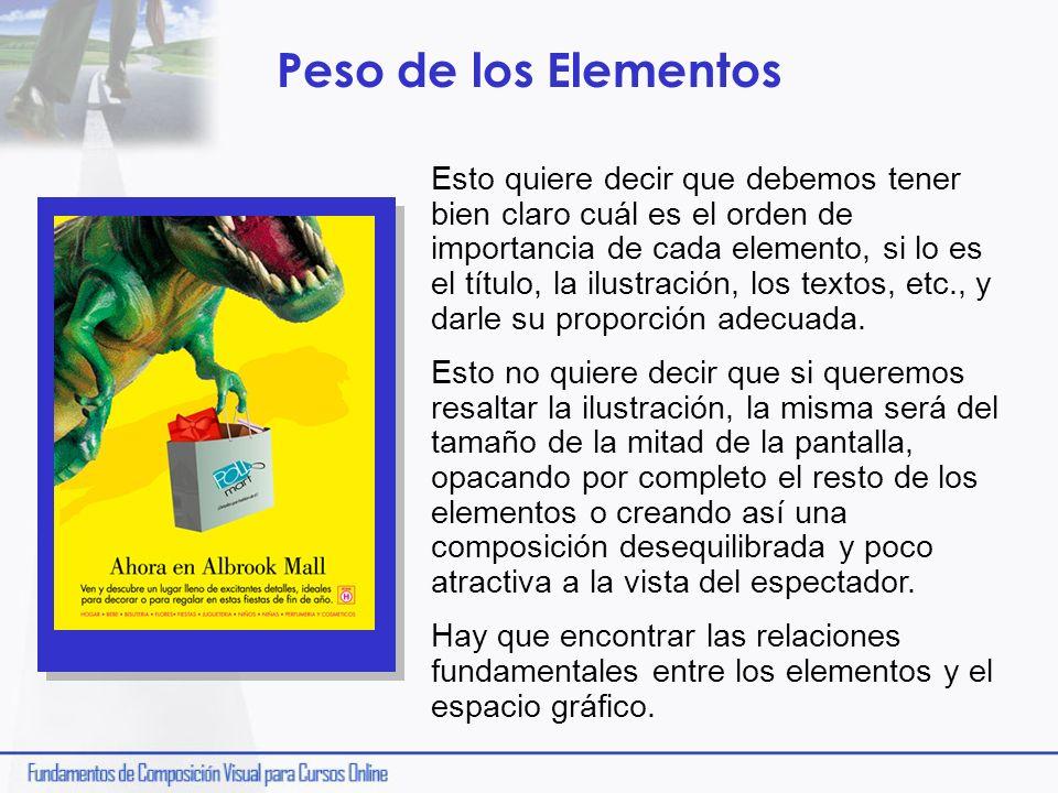 Peso de los Elementos Esto quiere decir que debemos tener bien claro cuál es el orden de importancia de cada elemento, si lo es el título, la ilustrac