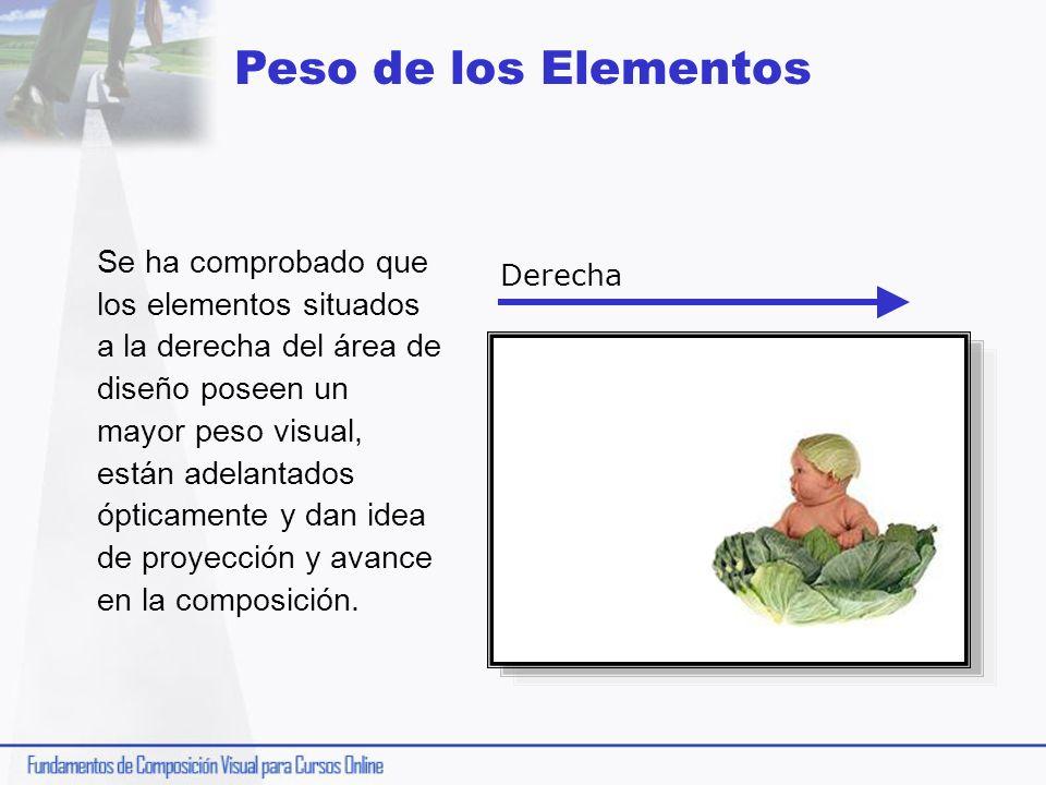 Peso de los Elementos Se ha comprobado que los elementos situados a la derecha del área de diseño poseen un mayor peso visual, están adelantados óptic