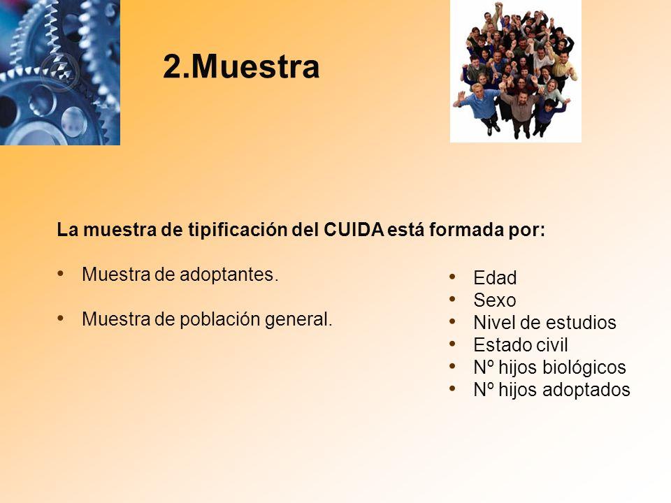 2.Muestra La muestra de tipificación del CUIDA está formada por: Muestra de adoptantes. Muestra de población general. Edad Sexo Nivel de estudios Esta