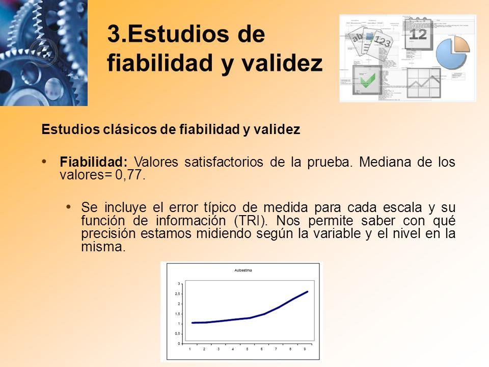 3.Estudios de fiabilidad y validez Estudios clásicos de fiabilidad y validez Fiabilidad: Valores satisfactorios de la prueba. Mediana de los valores=
