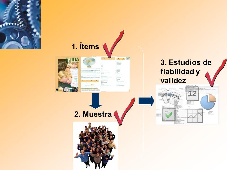2. Muestra 3. Estudios de fiabilidad y validez 1. Ítems
