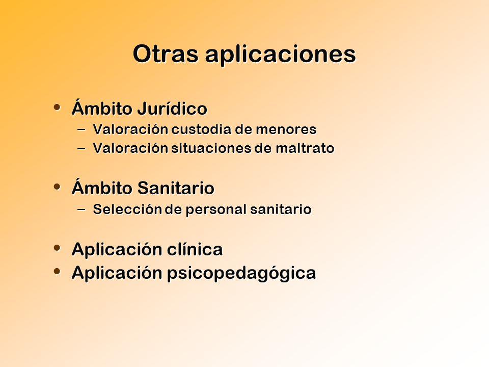 Otras aplicaciones Ámbito Jurídico Ámbito Jurídico – Valoración custodia de menores – Valoración situaciones de maltrato Ámbito Sanitario Ámbito Sanit