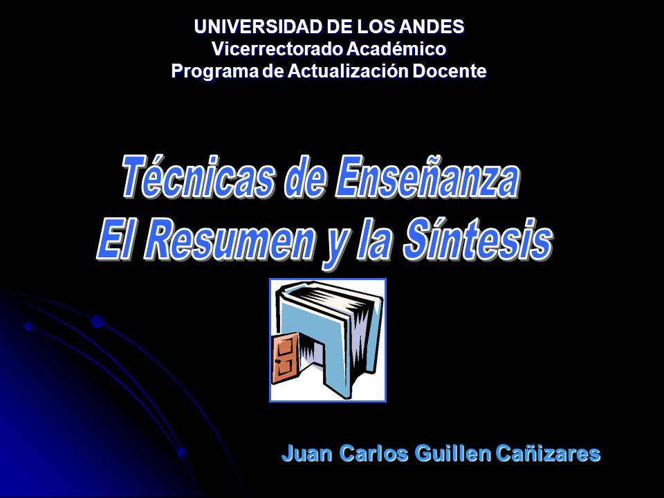 UNIVERSIDAD DE LOS ANDES Vicerrectorado Académico Programa de Actualización Docente Juan Carlos Guillen Cañizares