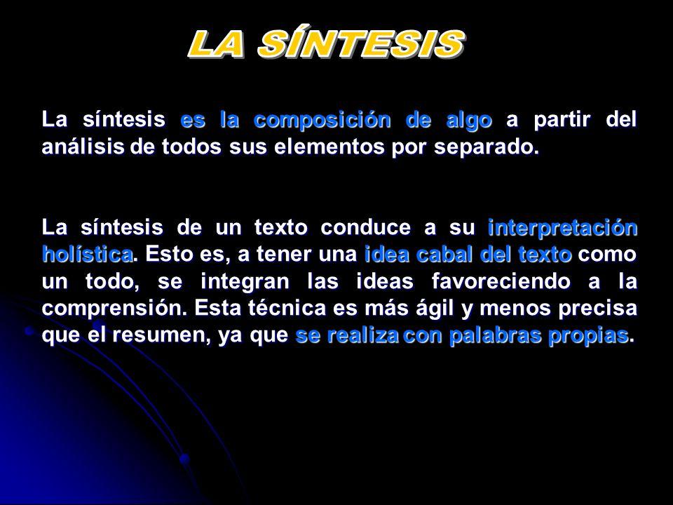La síntesis es la composición de algo a partir del análisis de todos sus elementos por separado. La síntesis de un texto conduce a su interpretación h