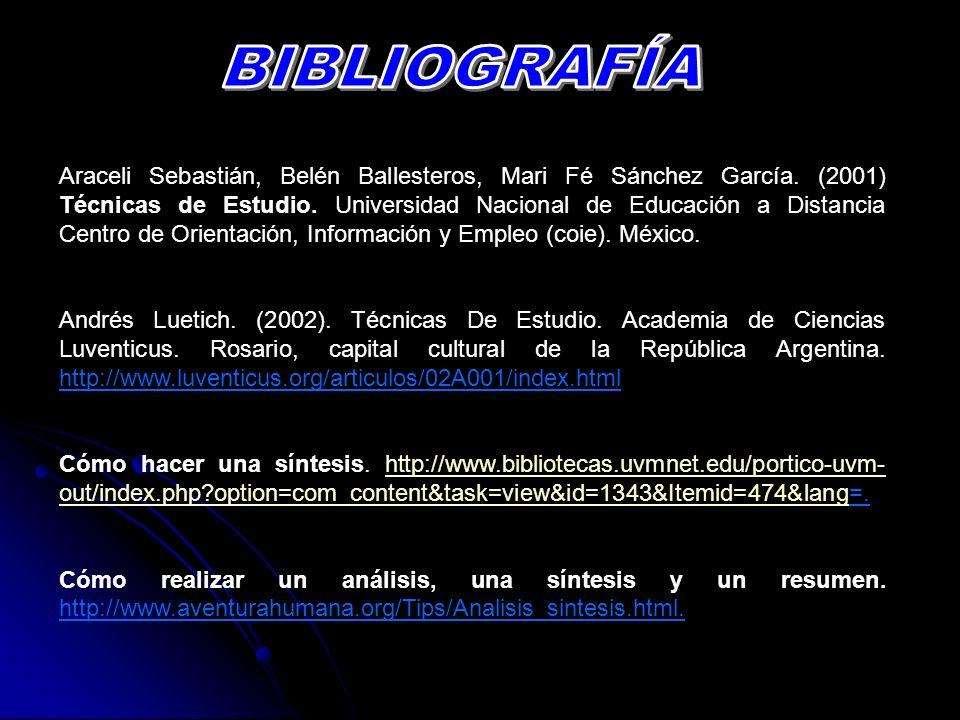 Araceli Sebastián, Belén Ballesteros, Mari Fé Sánchez García. (2001) Técnicas de Estudio. Universidad Nacional de Educación a Distancia Centro de Orie
