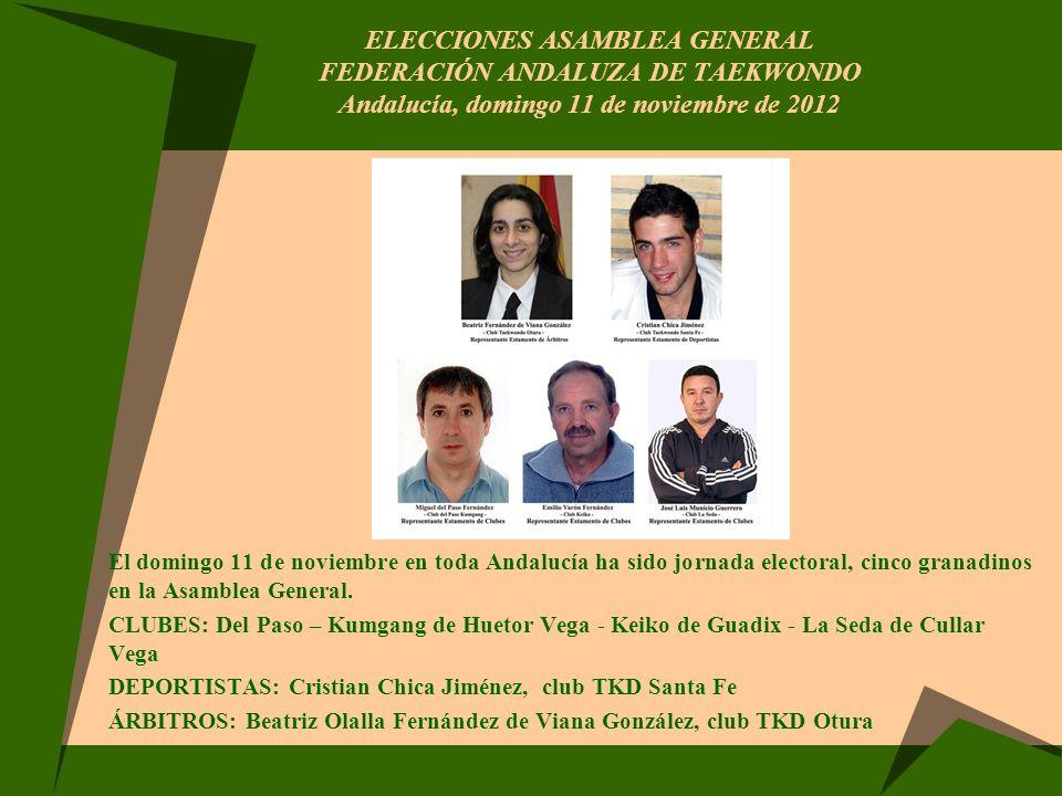 ELECCIONES ASAMBLEA GENERAL FEDERACIÓN ANDALUZA DE TAEKWONDO Andalucía, domingo 11 de noviembre de 2012 El domingo 11 de noviembre en toda Andalucía h