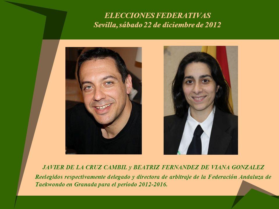 ELECCIONES FEDERATIVAS Sevilla, sábado 22 de diciembre de 2012 JAVIER DE LA CRUZ CAMBIL y BEATRIZ FERNANDEZ DE VIANA GONZALEZ Reelegidos respectivamen