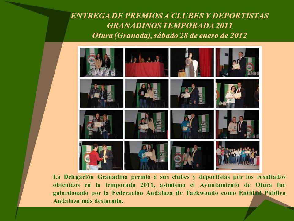 ENTREGA DE PREMIOS A CLUBES Y DEPORTISTAS GRANADINOS TEMPORADA 2011 Otura (Granada), sábado 28 de enero de 2012 La Delegación Granadina premió a sus c