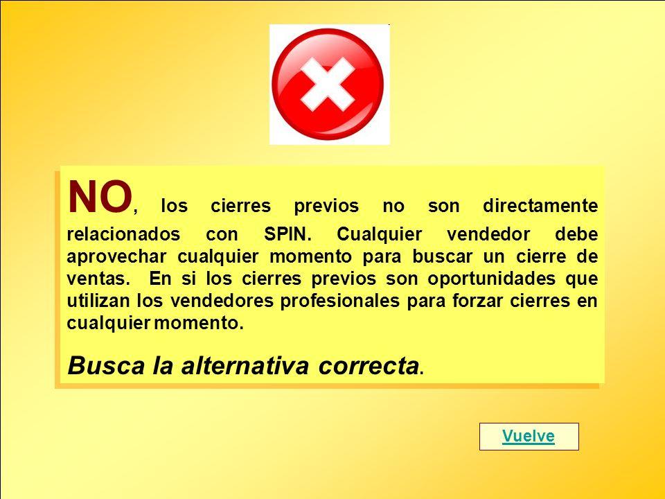 NO, los cierres previos no son directamente relacionados con SPIN. Cualquier vendedor debe aprovechar cualquier momento para buscar un cierre de venta