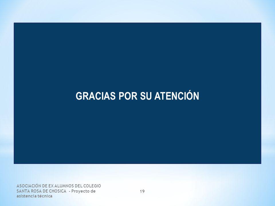 ASOCIACIÓN DE EX ALUMNOS DEL COLEGIO SANTA ROSA DE CHOSICA - Proyecto de asistencia técnica 19 GRACIAS POR SU ATENCIÓN
