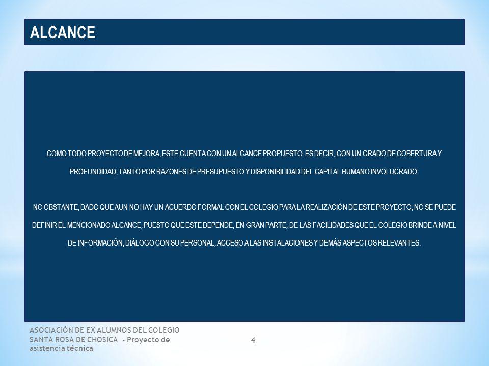 ASOCIACIÓN DE EX ALUMNOS DEL COLEGIO SANTA ROSA DE CHOSICA - Proyecto de asistencia técnica 15 Dimensiones de análisis DIAGNÓSTICO GENERAL DE LA SITUACIÓN ACTUAL Situación actual Marketing e Imagen institucional Programas educativos Procesos internos Equilibrio financiero