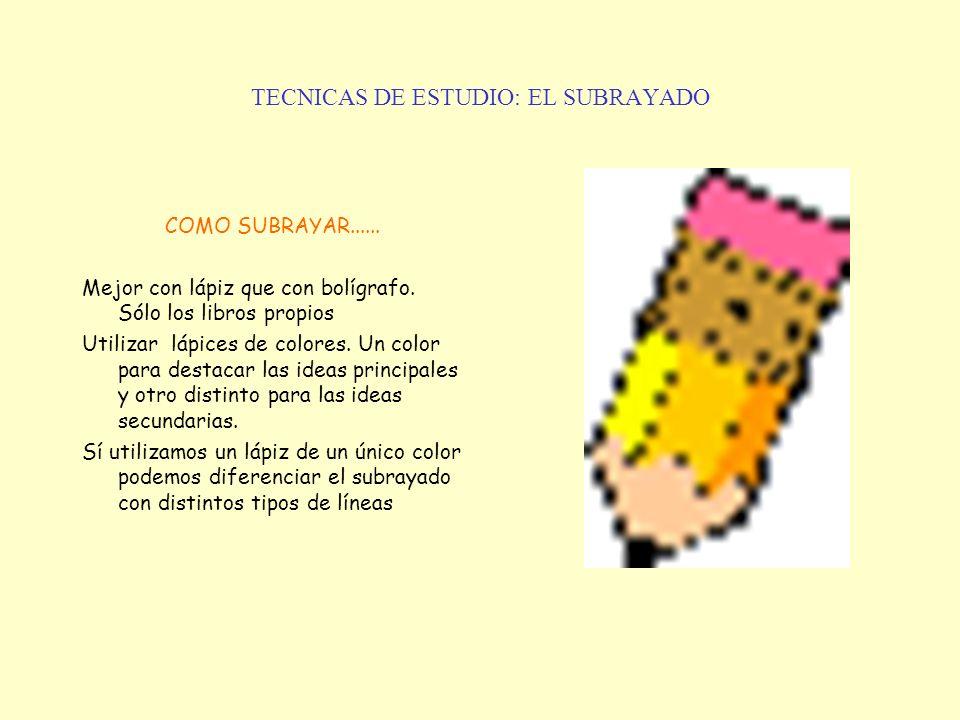 TECNICAS DE ESTUDIO: EL SUBRAYADO COMO SUBRAYAR...... Mejor con lápiz que con bolígrafo. Sólo los libros propios Utilizar lápices de colores. Un color