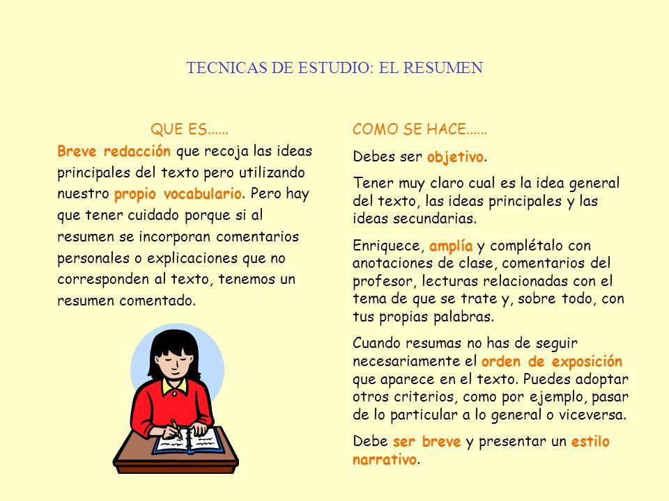 TECNICAS DE ESTUDIO: EL RESUMEN QUE ES...... Breve redacción que recoja las ideas principales del texto pero utilizando nuestro propio vocabulario. Pe