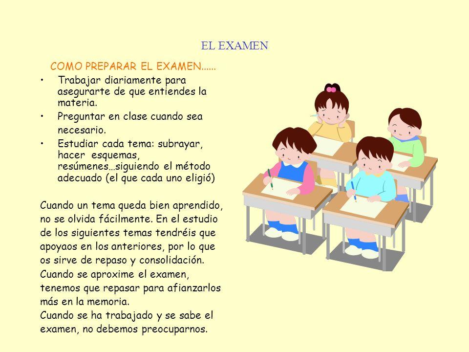 EL EXAMEN COMO PREPARAR EL EXAMEN...... Trabajar diariamente para asegurarte de que entiendes la materia. Preguntar en clase cuando sea necesario. Est