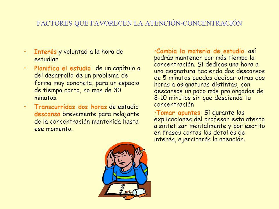 FACTORES QUE FAVORECEN LA ATENCIÓN-CONCENTRACIÓN Interés y voluntad a la hora de estudiar Planifica el estudio de un capítulo o del desarrollo de un p