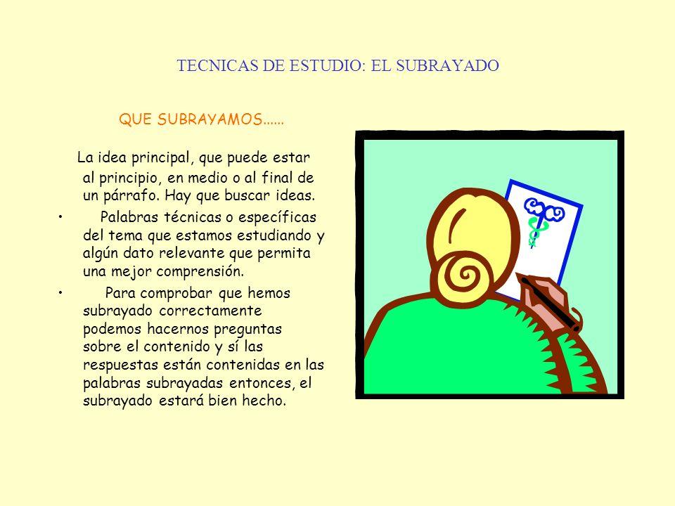 TECNICAS DE ESTUDIO: EL SUBRAYADO QUE SUBRAYAMOS...... La idea principal, que puede estar al principio, en medio o al final de un párrafo. Hay que bus