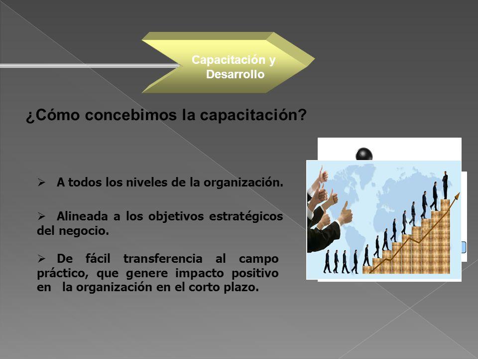 ¿Cómo concebimos la capacitación? Alineada a los objetivos estratégicos del negocio. De fácil transferencia al campo práctico, que genere impacto posi