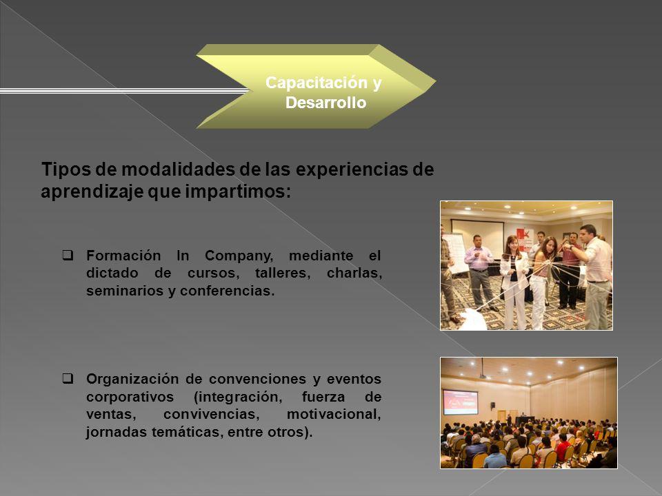 Formación In Company, mediante el dictado de cursos, talleres, charlas, seminarios y conferencias. Organización de convenciones y eventos corporativos