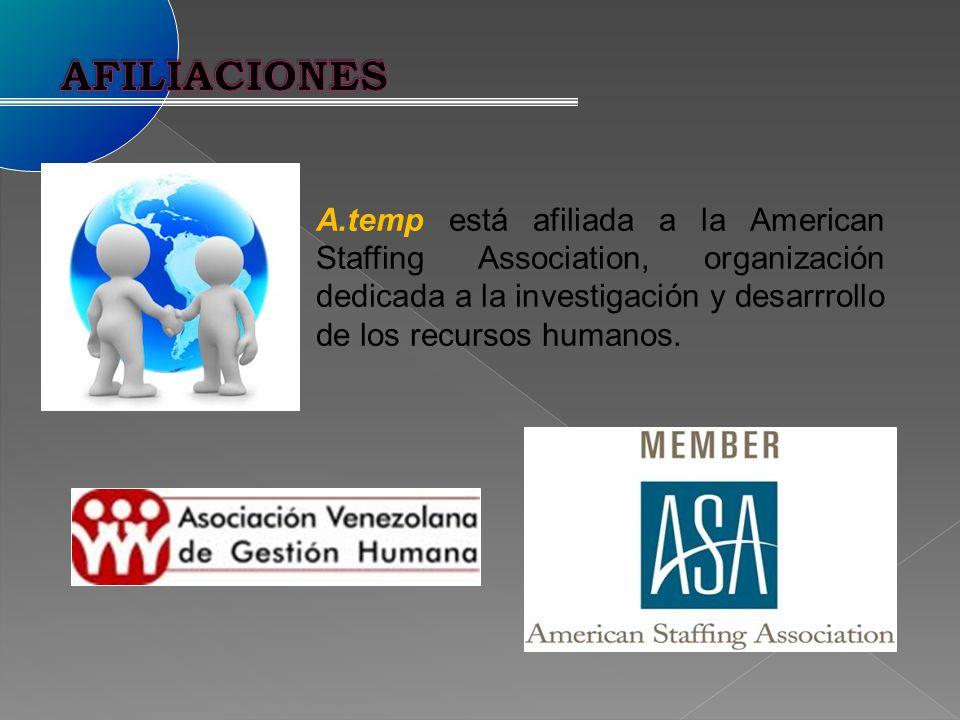 A.temp está afiliada a la American Staffing Association, organización dedicada a la investigación y desarrrollo de los recursos humanos.