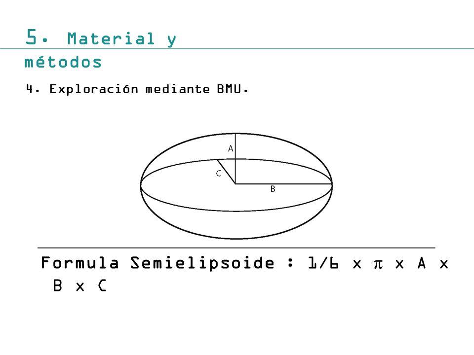 5. Material y métodos 4.Exploración mediante BMU. Formula Semielipsoide : 1/6 x π x A x B x C