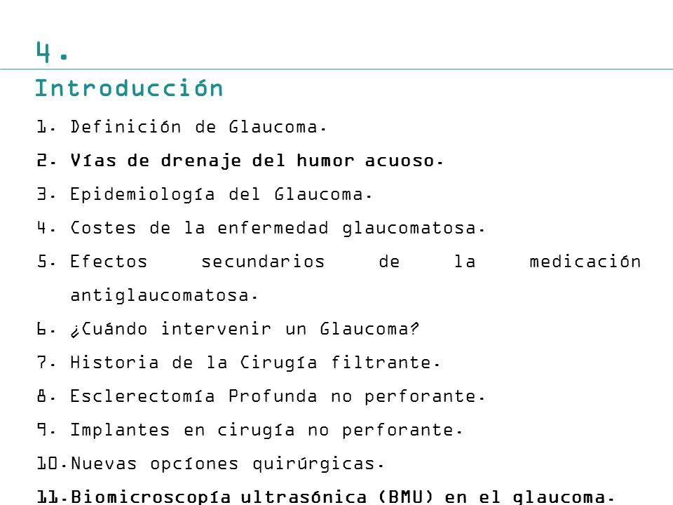 4.Introducción 1.Definición de Glaucoma. 2.Vías de drenaje del humor acuoso.
