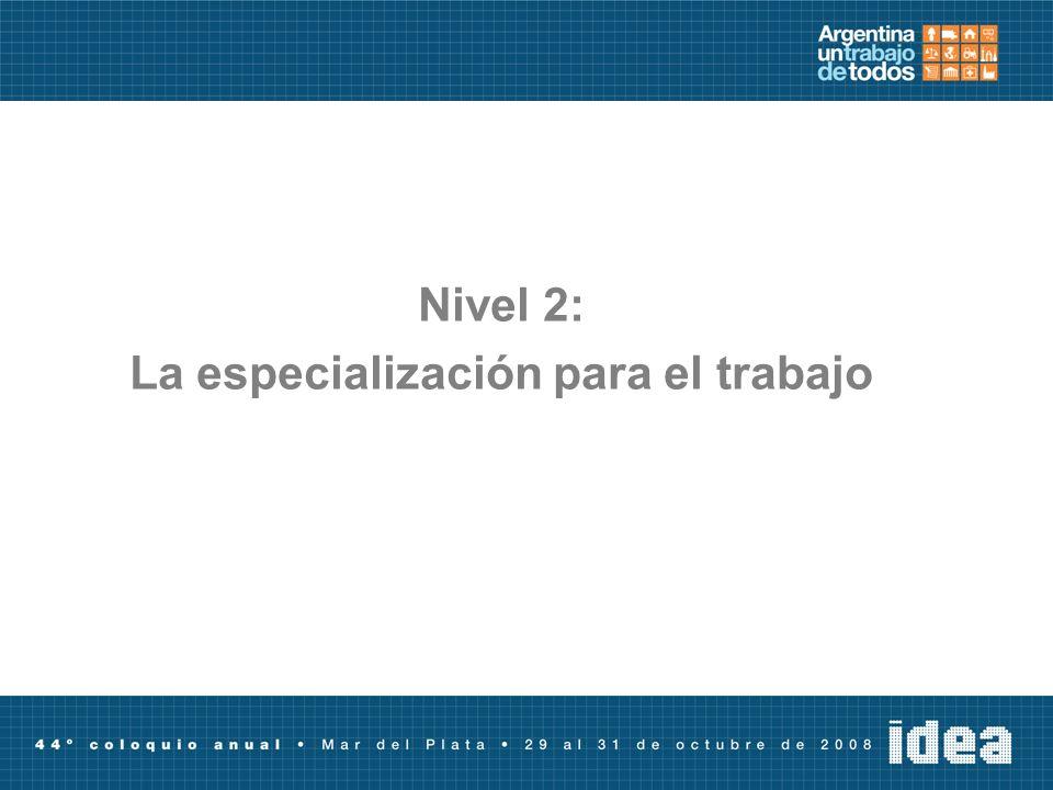 Nivel 2: La especialización para el trabajo