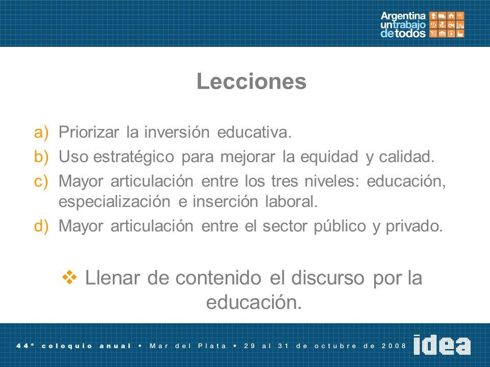 Lecciones a)Priorizar la inversión educativa. b)Uso estratégico para mejorar la equidad y calidad. c)Mayor articulación entre los tres niveles: educac