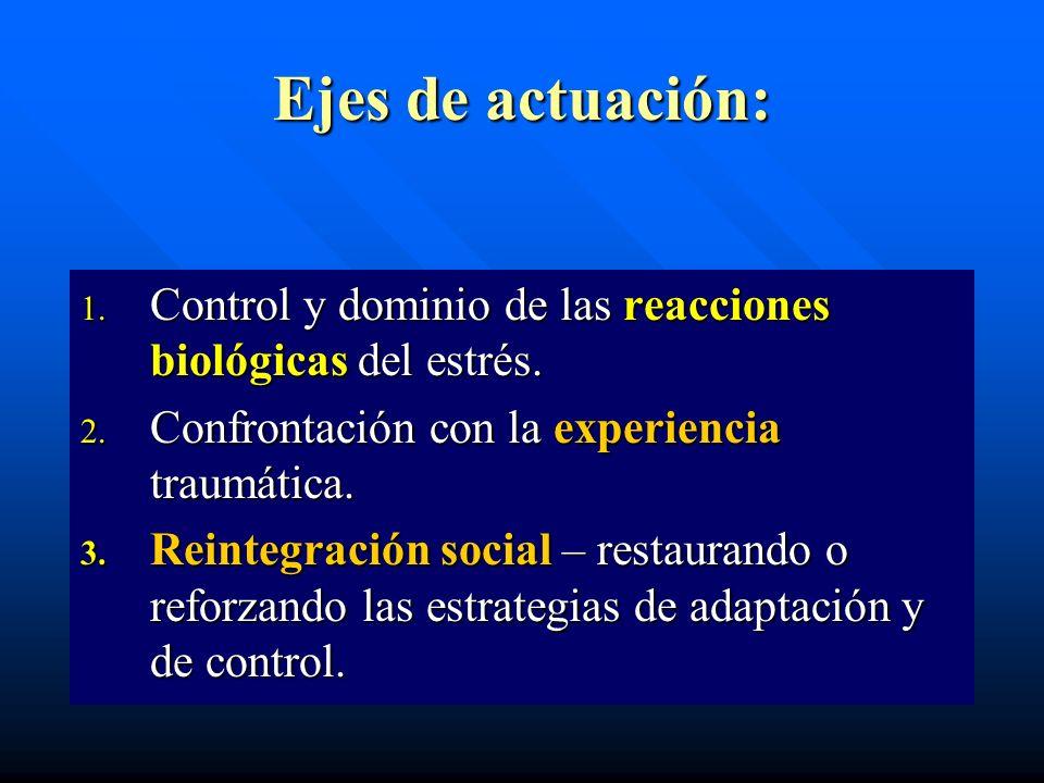 Ejes de actuación: 1. Control y dominio de las reacciones biológicas del estrés. 2. Confrontación con la experiencia traumática. 3. Reintegración soci