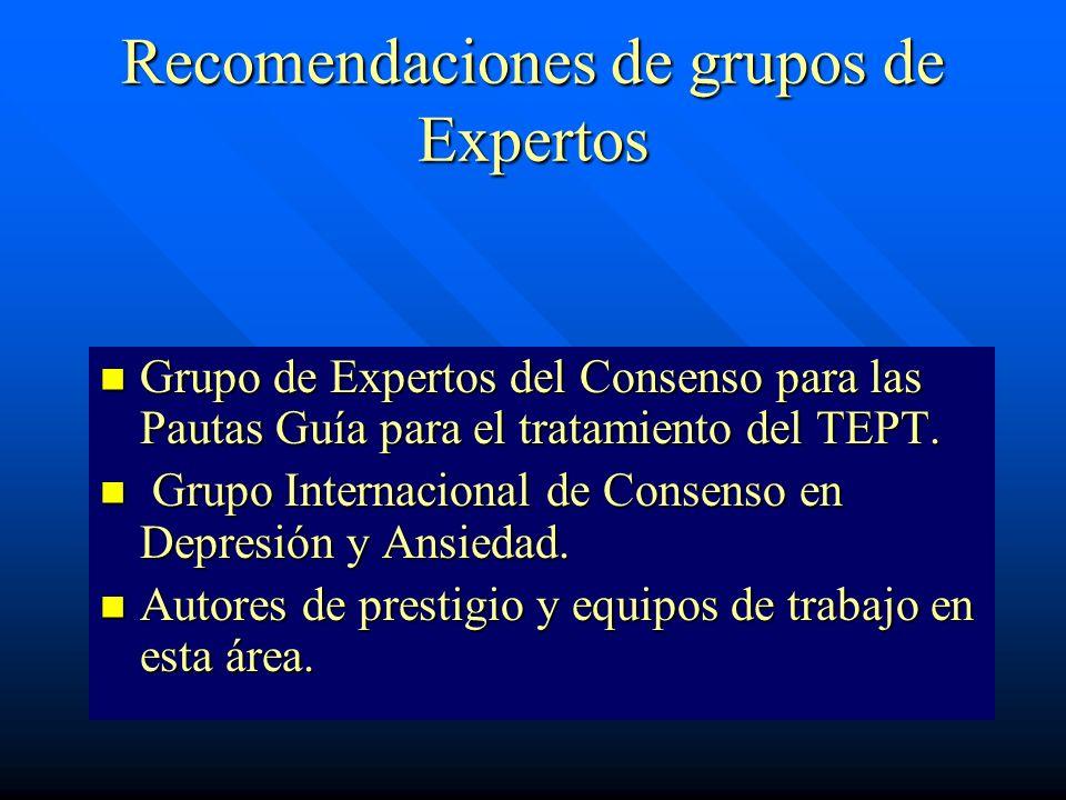 Recomendaciones de grupos de Expertos Grupo de Expertos del Consenso para las Pautas Guía para el tratamiento del TEPT. Grupo de Expertos del Consenso