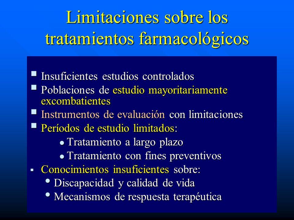 Limitaciones sobre los tratamientos farmacológicos Insuficientes estudios controlados Insuficientes estudios controlados Poblaciones de estudio mayori