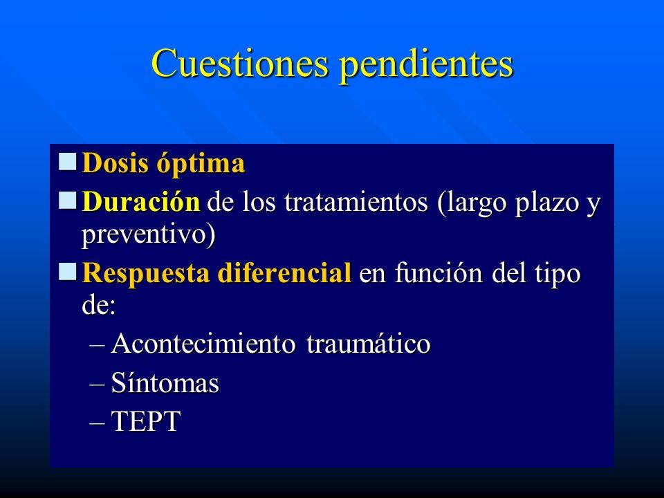 Cuestiones pendientes Dosis óptima Dosis óptima Duración de los tratamientos (largo plazo y preventivo) Duración de los tratamientos (largo plazo y pr