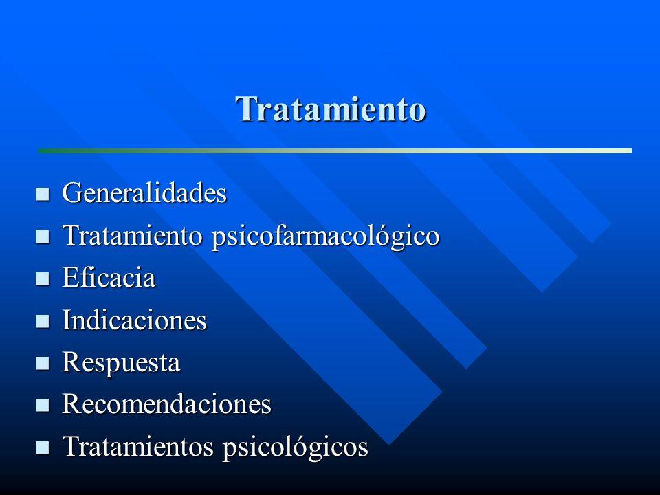 Tratamiento Generalidades Generalidades Tratamiento psicofarmacológico Tratamiento psicofarmacológico Eficacia Eficacia Indicaciones Indicaciones Resp
